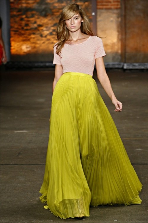Christian Siriano neon pleated skirt